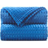 """Throw Blankets – 50""""x60"""", Navy Peony - Lightweight Flannel Fleece - Soft, Cozy - Perfect for Bed, Sofa, Couch"""