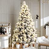 7FT LED Christmas Tree 2.1M Prelit Xmas Faux Snowy Tree w/ Warm White LED Jingle Jollys Holiday Lighted Decoration Indoor Pre