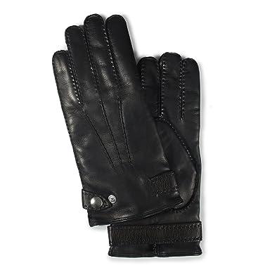 Goat Nappa Strapped Gloves: Black