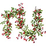 Artiflr 5.83 FT Red Berry Christmas Garland with Pine Cone Garland Artificail Berry Garland Indoor Outdoor Garden Gate Hone D
