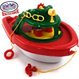 """Matty's Toy Stop Deluxe (17"""") Large Plastic Boat, Perfect for Bath, Pool, Beach Etc. (17"""" Long x 10"""" Wide x 8.5"""" Tall)"""
