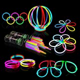 """Glow Sticks Bulk Party Supplies - Glow in The Dark Fun Party Pack with Super Bright 8"""" Glowsticks and Connectors for Bracelet"""