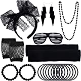 ZTWEDEN 80s Women's Costume Outfit Accessories Set Headband Earrings Fishnet Gloves Necklace Bracelet Leg Warmers Black