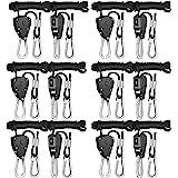 iPower GLROPEX6 6-Pair 1/8 Inch 8-Feet Long Heavy Duty Adjustable Rope Clip Hanger (150lbs Weight Capacity) Reinforced Metal