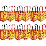 Tiny Mills Fire Truck Themed Party Favor Bags Treat Bags with Handles, Firefighter Fire Engine Birthday Party Goodie Bags Can