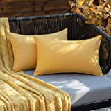 ANRODUO Pack of 2 Outdoor Waterproof Throw Pillow Covers Solid Decorative Garden Cushion Sham Outside Lumbar Pillowcase for P