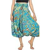 Lofbaz Women's Elephant Floral 2 in 1 Harem Pants Jumpsuit Trousers Rayon