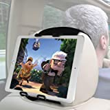 Macally Tablet Car Headrest Mount Holder for Kids in Back Seats - Adjustable Strap Fits Most Headrests - Universal Fit for Ta