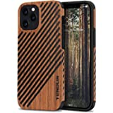 TENDLIN Compatible with iPhone 12 Pro Max Case Wood Grain Outside Design TPU Hybrid Case (Wood & Leather)
