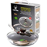 COOK KING 28cm Triply Stainless Steel Dual-Honeycomb Nonstick Skillet / Frying Pan with Glass Lid. PFOA Free
