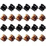 (Black and Brown) - Hotop 24 Pieces Mini Hair Clips Plastic Hair Claws Pins Clamps for Girls and Women (Black and Brown)