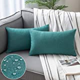 Woaboy Set of 2 Outdoor Waterproof Throw Pillow Covers Decorative Farmhouse Cotton Linen Solid Cushion Cases for Patio Garden