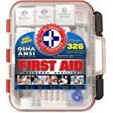 First Aid Kit Hard Red Case 326 Pieces Exceeds OSHA and ANSI Guidelines 100 People - Office, Home, Car, School, Emergency, Su