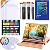 Acrylic Painting Set, 44pcs Ohuhu Artist Set with Wood Table-Top Easel Box, Art Painting Brushes, Acrylic Paint Tubes, and Ac