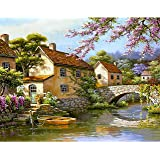Paint by Numbers-DIY Digital Canvas Oil Painting Adults Kids Paint by Number Kits Home Decorations-Stone Bridge 16 * 20 inch