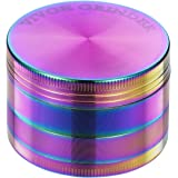 Grinder - 4 Pieces Zinc Alloy Pollen Rainbow Grinders Spice Grinder Colorful Metal Crusher with magnetic top (52mm(2inch))
