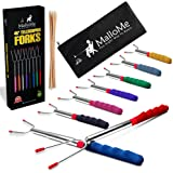 MalloMe Premium Marshmallow 45-inch Roasting Sticks Set of 8 Smores Skewers & Hot Dog Fork | Rotating Extending Patio Fire Pi