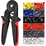 Ferrule Crimping Tools Wire Pliers - 1800 PCS Wire Ferrules with Crimpers Pliers Kit for Electricians, Adjustable Ratchet Too