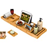 Bath Caddy Tray for Bathtub - Bamboo Adjustable Organizer Tray for Bathroom with Free Soap Dish Suitable for Luxury Spa or Re