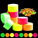 WATINC 784ft Neon Streamers, Neon Crepe Paper and Circle Dots Confetti for Birthday Party Wedding Glow in The Dark Party Deco