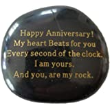 Happy Anniversary! My Heart Beats for You Every Second of The Clock. I am Yours. and You, are My Rock. Engraved Rock, for Men
