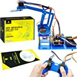 KEYESTUDIO 4DOF Aluminium Robot Arm Mechanical Robotic Clamp Claw Kit 4-Axis Servo Control 180 Degree Rotatio with Servos for