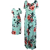 Qin.Orianna Mommy and Me Maxi Dresses,Bohemia Floral Printed Matching Dresses for Daughter and Mom