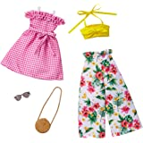 Barbie Fashions 2-Pack Clothing Set, 2 Outfits Doll Include Floral Wide-Legged Pants, a Yellow Bandeau Top, Pink Gingham Dres