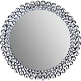 """Everly Hart Collection Round Jeweled, 24"""" Mirrors, 24"""" x 24"""", Silver"""