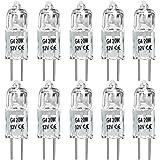 20W G4 Halogen Light Bulbs G4 Bin-Pin Base Light Bulb JC Type 12 Volt Dimmable Soft White 2800k (Pack of 10)
