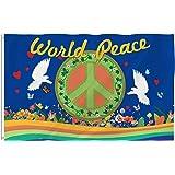 Bonsai Tree World Peace Flag 3x5 Ft Double Sided and Double Stitched Peace Love World Flags with Brass Grommets Peace Sign Ga