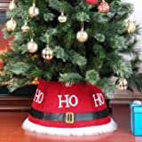 Yomikoo Christmas Tree Collar,Tree Stand Band with Santa Suit for X'Mas Tree,Home Decoration