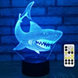 Easuntec Baby Shark Toys,Baby Shark Party Supplies 3D Night Light with Timer Remote Control & Smart Touch 7 Colors Birthday G