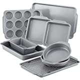 Farberware Nonstick Steel Bakeware Set with Cooling Rack, Baking Pan and Cookie Sheet Set with Nonstick Bread Pan and Cooling