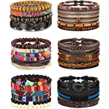 FIBO STEEL 29Pcs Braided Leather Bracelets for Men Women Wooden Beaded String Cuff Wrap Bracelet Set Adjustable