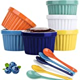 Souffle Dish Ramekins for Baking – 4 Ounce (Set of 6, Assorted Colors with 6 Extra Spoons) 4 Oz, Half Cup Ceramic Oven Safe R