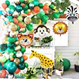 OuMuaMua Jungle Safari Theme Party Balloon Garland Kit - 151 Pack with Animal Balloons and Palm Leaves for Kids Boys Birthday