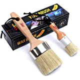 Chalk Paint & Wax Brush (Pack of 2) Natural Bristles Handmade Round Boar Painting or Waxing Furniture - Sidewalk Chalk Paint