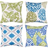 Outdoor Pillow Covers 18x18 inch Waterproof, Leaf and Flower Decorative PU Coating Waterproof Outdoor Pillows Covers for Pati