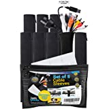 8 Pack Cable Management Sleeve with Bonus 12 x Writable Cable Tags, Jatti Cord Sleeve Cover with Zipper for TV/Computer/Home