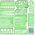 SIQUK 11 Pieces Geometric Drawings Templates Plastic Clear Green Plastic Rulers with 1 Pack Poly Zipper Envelopes for Studyin