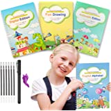 Magic Practice Copybook for Kids, 4Pack Reusable Kindergarten Workbook Calligraphy Handwriting, Repeated Number Math Drawing