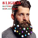 DecoTiny Lighting Up Beard Lights Ornaments, 8 Pcs Beard Lights and 12 Pcs Colorful Sounding Jingle Bells, Great Christmas an