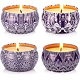 Hausware Scented Candles Set of 4 Pack,4X4.4 oz Vanilla Lavander Lemon Apple &Cinnamon,Candle Scented for Gift Set, Birthday,