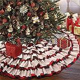 KERIQI Burlap Christmas Tree Skirt, 6-Layer Ruffle Tree Skirt with Buffalo Plaid Trim, 48 Inches Farmhouse Tree Skirt for Rus