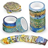 Knaid Van Gogh Inspired Washi Masking Tape Set of 8 Rolls + 90 pcs Planner Stickers, Van Gogh's Paintings Series Bundle for A