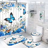 4 Pcs Flower Butterfly Shower Curtain Set with Non-Slip Rug, Toilet Lid Cover and Bath Mat, Colorful Floral Shower Curtain wi