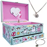 Musical Unicorn Jewelry Box for Girls - Kids Music Box Jewelry Organizer with Drawer Plays You Are My Sunshine with Heart Nec