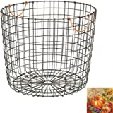 Threshold Milk Crate Wire Baskets - Antique Pewter with Copper Colored Handles, Antique Pewter, Extra Large Round
