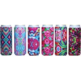 Baxendale's Slim Can Cooler Sleeve Cute Floral Design 6 Pack Tall Skinny Neoprene Can Coolie Insulator- Perfect for 12 Ounce